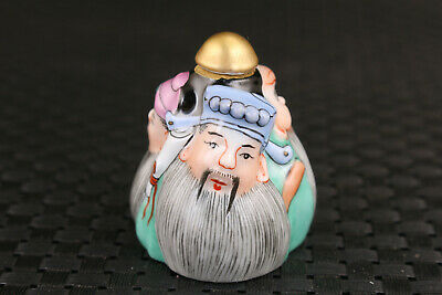 Rare Chinese old porcelain hand painting three friend Sworn statue snuff bottle 3