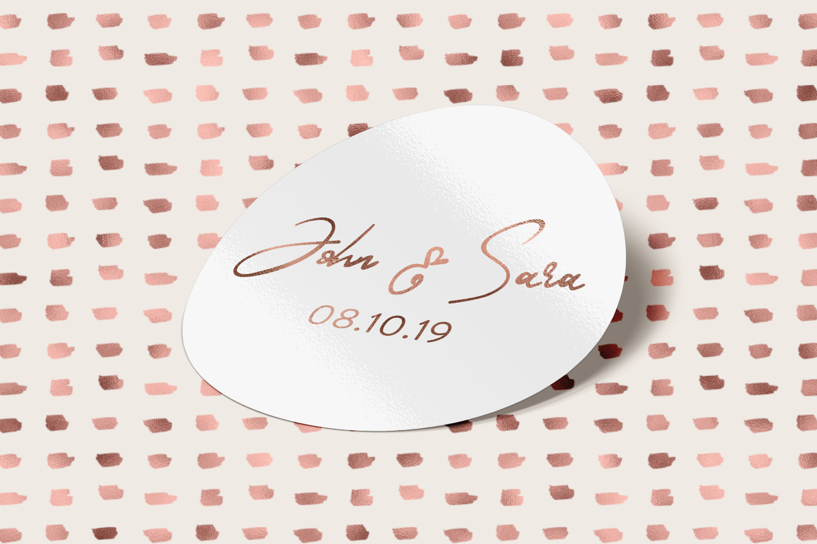 28x Foiled Personalised ROSE GOLD 35MM WHITE WEDDING ROUND LOGO LABEL STICKERS
