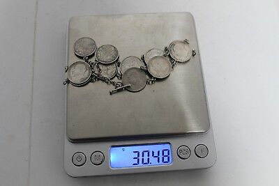 Antique Authentic Hand Made Charming Silver Coins Woman Chain Bracelet. 5