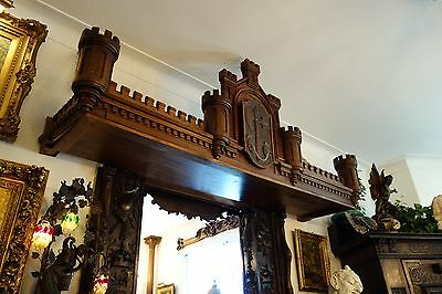 19C English Gothic Carved Oak Castle/Battlement Architectural Fantasy Pediment 6