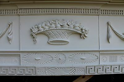 18th Century Fireplace Mantel Chip Carved Pinwheels, Ovals, W Added Swags,Basket 2