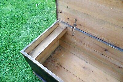 Antique Victorian Old Pine Chest / Trunk / Blanket Box c1860 4