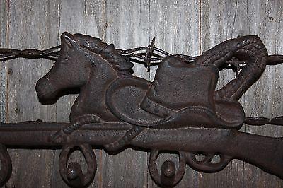 "(2) Cowboy Horse Hat And Coat Hook, Cast Iron 12 1/2"", Vintage-Look Cowboy,w-12 5"