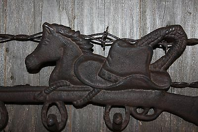 """(3) Cast Iron Farm And Ranch Wall Hook, Cowboy Hat Horse Design, 12 1/2"""",w-12 5"""