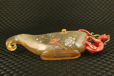 Chinese rare old coloured glaze hand painting dragon statue glass wine cup 9