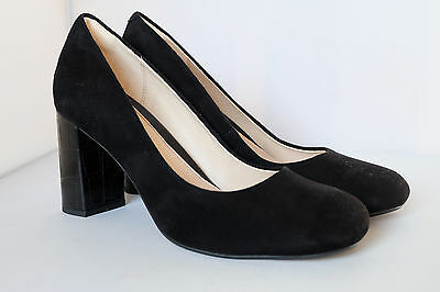 2d04dbbf CLARKS COURT SHOES GABRIEL MIST Black Suede Crocodile Effect Block Heel
