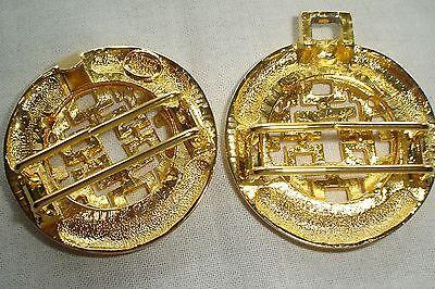 Vintage Dotty Smith Double Round Locking Oriental Design Gold Belt Buckle Signed 4