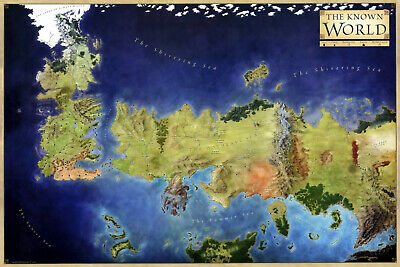 New The Known World Game Of Thrones Got Map Art Colour Art Print Premium Poster 2