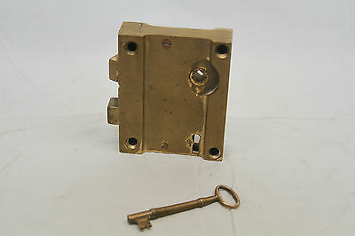 "Antique Architectural Salvage Brass Door Lock & Brass Pulls Original 3 3/4"" Key 10"