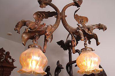 19C French Bronze Winged Griffin/Gargoyle/Dragon Chandelier 5