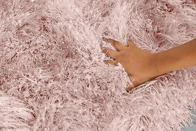 Blush Pink Large SHAGGY Floor RUG Soft SPARKLE Shimmer Extra Thick 9cm Pile 5