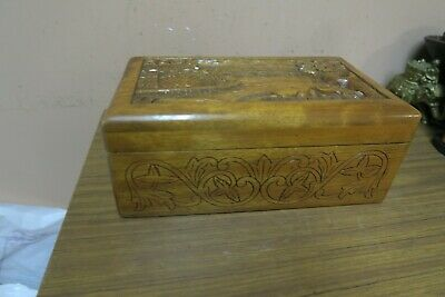 "Vintage Box Asian Teak Carved Wood Wooden Chest 7"" x 12"" and 5"" high Plowing 2"