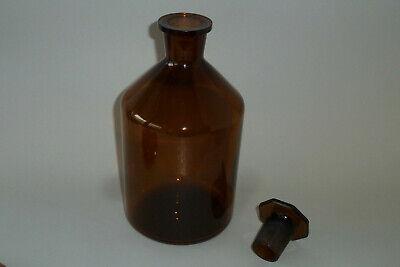 Alte Apotherflashe Braunglas mit achteckigem Glasstopfen 1000ml W292 4