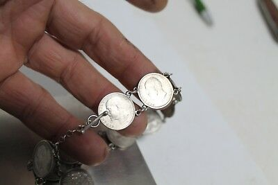 Antique Authentic Hand Made Charming Silver Coins Woman Chain Bracelet. 6