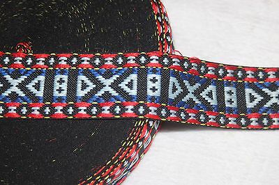 """1 yard Black blue Pink Red white aztec woven sewing ribbon Trim 2/"""" wide #46"""