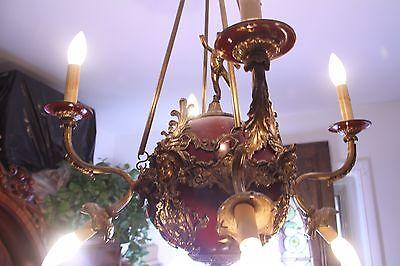 Vintage Brass/Bronze Spherical Chandelier Cherub/Masks/Stars 3