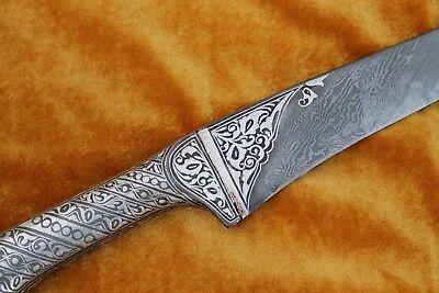 Indo-Persian Mughal Silver Inlay Damascened Calligraphy Kard Dagger No Pesh-Kabz 7