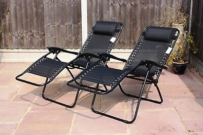 Set Of 2 Reclining Sun Loungers Gravity Folding Garden Chairs Or Spare Parts 4