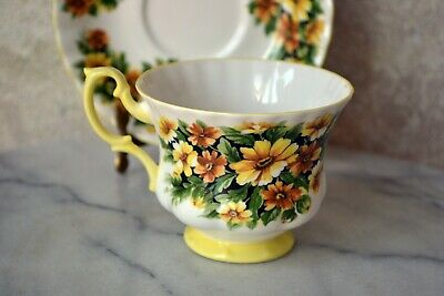 TEACUP and SAUCER SET - Royal Albert Fragrance Series MARGUERITE Flower, England 5