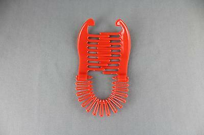 Red Plastic Interlocking Banana Clip Hair Pony Tail Comb Flex Stretch Clincher