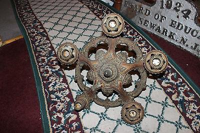 Antique Victorian Art Deco Ceiling Chandelier Light Fixture-Lion Electric Co. 9 • CAD $254.04