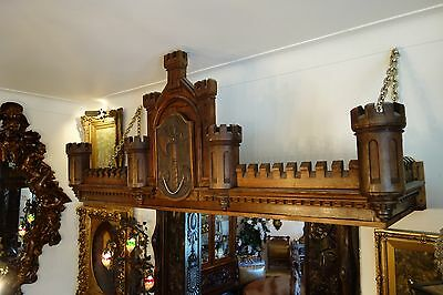 19C English Gothic Carved Oak Castle/Battlement Architectural Fantasy Pediment 11