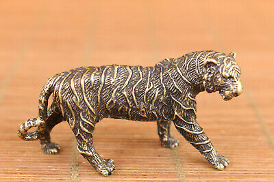 rare chinese old bronze art tiger statue figure collectable good stand 2