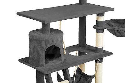 Arbre à chat griffoir grattoir animaux geant avec hamac lit 141 cm hauteur gris 5