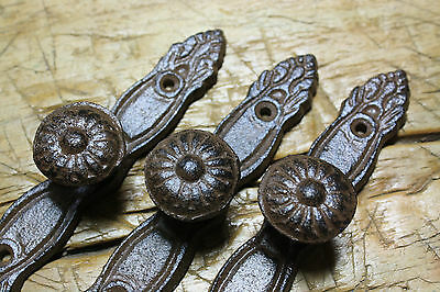 6 Cast Iron Antique Style Barn Handle Drawer Pull Shed Door Handles BACK PLATE 3