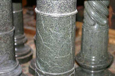 19Th  Century Original Antique  Green Granite Hand Carved  Pedestal Column