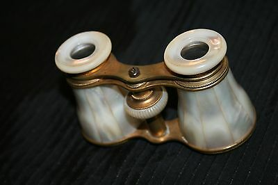 ANTIQUE BRASS OPERA Glasses & Mother Of Pearl wcase Binoculars GREAT FOR EVENTS 2