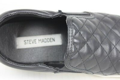 72c9b2f00ddb3 STEVE MADDEN ELLEN Quilted Sneakers Black Slip On Shoes Womens Size 7.5 VGUC