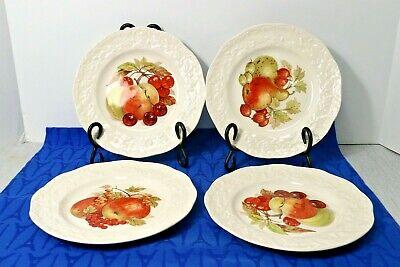 "LOT of 4 Mason's Oak Fruit Center Embossed Edge 8"" Salad Plates. England 2"
