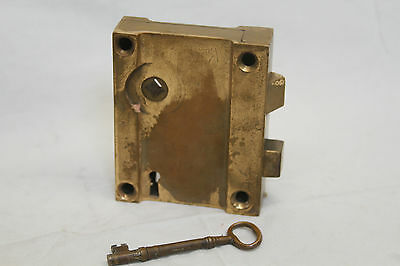 "Antique Architectural Salvage Brass Door Lock & Brass Pulls Original 3 3/4"" Key 9"