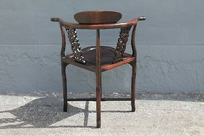 ASIAN EARLY 20thc HIGHLY CARVED- MAJORLY DECORATIVE CORNER CHAIR 9
