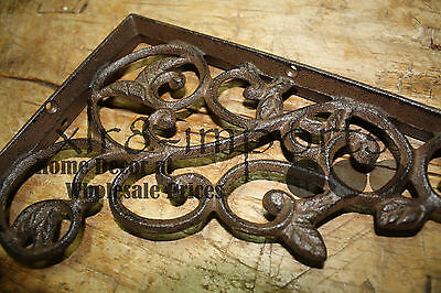 2 Cast Iron Antique Style LEAVES & VINE Brackets, Garden Braces Shelf Bracket