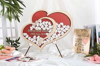 Personalised Wedding Party Guest Book Alternative Wooden Hearts Drop Jar Box 4