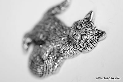 Kitten & Wool Pewter Brooch Pin -British Artisan Signed- Cat Gift Present