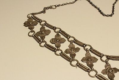 Rare Post Medieval Unique Hand Made Low Sample Silver Necklace With Crosses 4