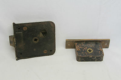 "Antique Architectural Salvage Brass Door Lock & Brass Pulls Original 3 3/4"" Key 4"