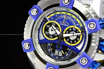 "Invicta 63mm Reserve Grand Octane Arsenal ""PINNACLE"" Swiss Silver Blue SS Watch 2"