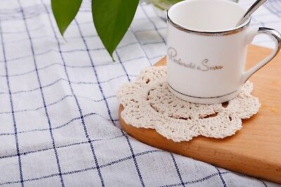 Lace Round Crochet Doilies Handmade Coasters, 4-Inch, Pack of 4 (Beige)