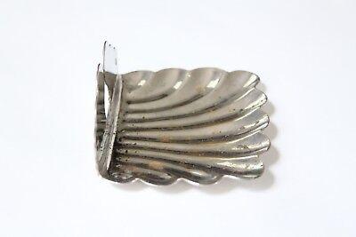 antique bathroom kitchen soap holder | vtg deco victorian bath nickel clamshell 10