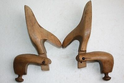 Pair of Old Antique Wooden Shoe Last Form Size 41 Shoemakers Tool Wood Collector