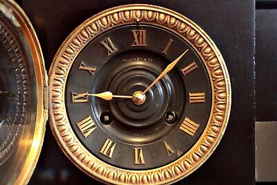 Antique French GS Medaille D'Or 1867 8-Day Striking Marble, Bronze Mantel Clock 7