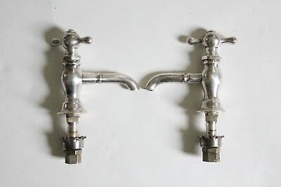 antique faucet bathroom sink | vtg bath victorian plumbing silver plated deco 5