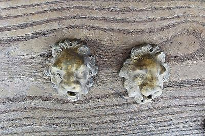 Lot Of 2 Antique Furniture Drawer Pulls Victorian Style Lion Face Brass Ornement 3