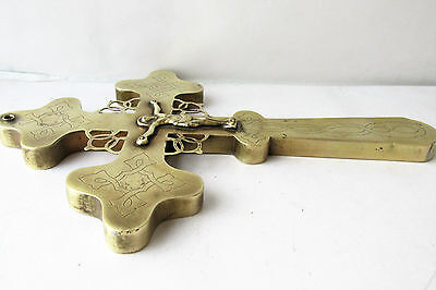 Antique Russian Orthodox  Large Blessing Cross Brass 19th century 8