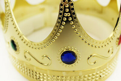 Gold Plastic King Crown Hat Regal Prince Medieval Headpiece Jeweled Crown LOT