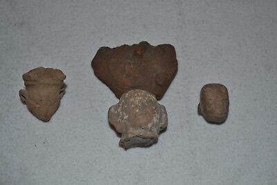 Pre-Columbian Colima Tarascan Clay Pottery Lot of 4 Head Face Artifact Sculpture 2